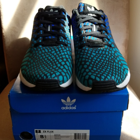 reputable site 4d028 07ff5 Adidas zx flux xeno reflective blue/green